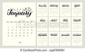Callendar Planner Vector Calendar Planner For 2020 Year With Handdrawn Lettering And Doodles Set Of 12 Months Week Starts Sunday Stationery Design Objects Isolated