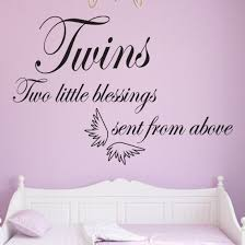 Baby Blessing Quotes Extraordinary Twin Babies Wall Art Quote Two Little Blessings Sent From Above