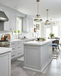 kitchen floor tiles with light cabinets. Brilliant Kitchen Light Gray Cabinets With White Glazed Subway Tiles In Kitchen Floor With O