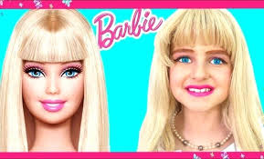 barbie dolls makeup doll face painting tutorial baby dress up and pretend play with toys game