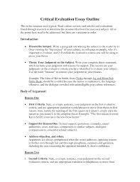 Debate Essay Outline Evaluation Essay Outline Under Fontanacountryinn Com