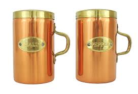 vintage copper salt and pepper shakers