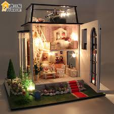Diy Doll House Miniature Wooden Building Model Little Prince Rose Dollhouse  Furniture Model Toys of houses