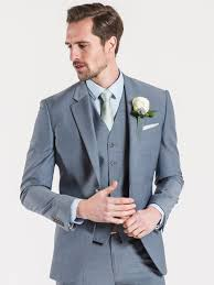 Grey Light Blue Suit Light Blue Tailored Fit Three Piece Wedding Suit 40 L