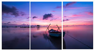 alone boat sunset modern landscape canvas prints wall art with stretched frame ready to hang on boat canvas wall art with alone boat sunset modern landscape canvas prints wall art with