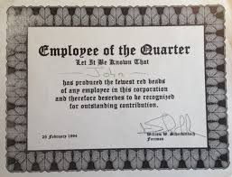 Employee Of The Quarter Certificate My Willing Worker Award Curious Cat Management Improvement