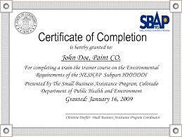 Sample Of Certificate Of Completion Template Examples