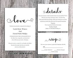 Invitations In Word Template Wedding Invitation Template Set Editable Word File Download