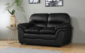gallery rochester black leather 2 seater sofa