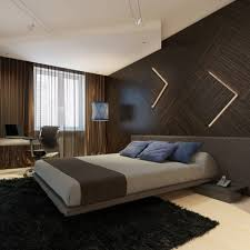 alluring floating bed inside modern bedroom with black fur rug and wood wall panels