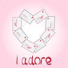 Vector Simple Envelope With Valentine Card Inside Illustration