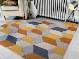 ochre yellow diamond living room rugs non shed grey geometric dining room rug uk