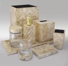 Small Picture Gold Herringbone luxury shell vanity set from Gail DeLoach