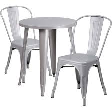 24 round silver metal indoor outdoor table set with 2 cafe chairs ch