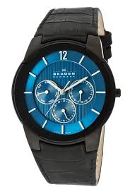 skagen men s watches 59 99 for skagen men s watch black leather reptile print band blue face skagen 856xlbln 155 list price