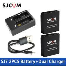 <b>100</b>% <b>Original SJCAM SJ7</b> Star Dual Charger + 2pcs SJCAM ...
