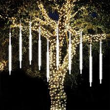 Led Icicle Drip Lights In Motion Us 9 49 25 Off Beiaidi 8 Tube Meteor Shower Rain Led String Light 30cm 50cm Falling Rain Drop Icicle Christmas Tree Wedding Fairy Light Garland On