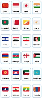 Flag Emoji Chart 33 Free Asian Countries Printable English Flashcards Made