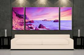 3 piece wall art purple ocean multi panel art ocean artwork ocean huge on 3 panel wall art beach with 3 piece purple ocean huge canvas art