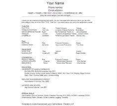 Audition Resume Template Wonderful Audition Resume Template Acting Shalomhouseus