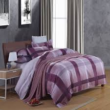 modern plaid purple blue comforter duvet cover set 4pcs 100 cotton anti allergic bedding set for single and double size bed in bedding sets from home