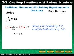 evaluating algebraic expressions 2 7 one step equations with rational numbers additional examples 1c
