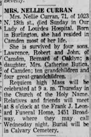 Curran, Nellie obit Camden 1957 - Newspapers.com