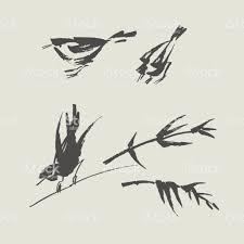シンプルな手描きの黒と白の鳥 アジア大陸のベクターアート素材や画像