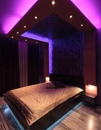 Modern Bedroom With Purple Neon Mood Lighting