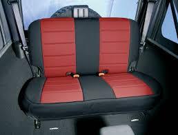 rugged ridge neoprene rear seat cover black red 07 15 jeep