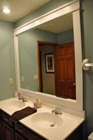 wood framed mirror wall bathroom mirrors