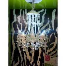 white beaded locker chandelier