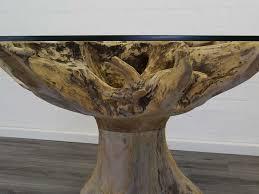Tisch Esstisch Glastisch Esszimmertisch Rund Mit Wurzelholz D 150 8827