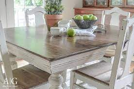 antique dining table updated with chalk