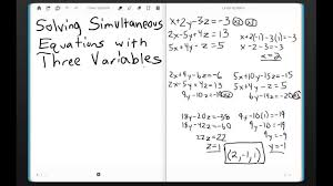 c4 solving simultaneous equations with three variables