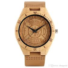 creative bamboo wooden wrist watch men fire fighter handmade nature wood watches novel bangle genuine leather band clock gift best deals on watches best