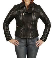 sl11801 las designer style quilted black leather biker jacket