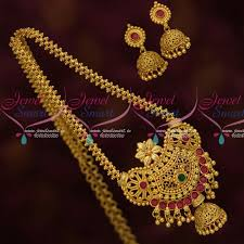 nl13623 south indian gold plated jewelry chain pendant jhumka latest designs