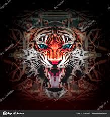 abstract ilration angry tiger face