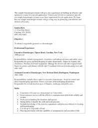 Sample Resume For Housekeeping Sample Housekeeping Resume