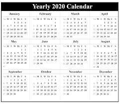Printable Yearly Calendar 2020 Template With Holidays Pdf