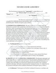 Standard Non Disclosure Agreement Form Examples In Word Standard ...