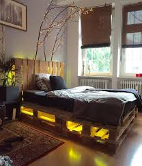 Diy Whole Pallet Bed With Headboard And Lights Diy Pallet