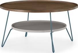dotty round coffee table dark stain