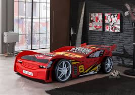 Race Car Room Decor Night Racer Kids Car Bed With Racing Themed Linen And Garage Style