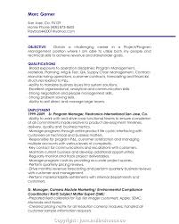 Project Management Resume Objective Statement Professional Resume