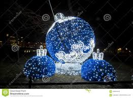 Blue White Outdoor Christmas Lights Blue Ornament Christmas Lights Stock Image Image Of Light