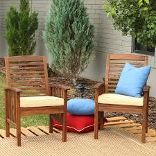 walker edison acacia wood patio chairs with cushions set of 2 hayneedle