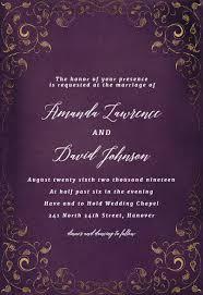 Swirls And Frames Purple Wedding Invitation Template Free