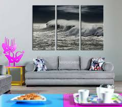 large wall art giclee 3 panel canvas print black and white ocean storm and wave ocean wave art canvas print on large 3 panel wall art with large wall art giclee 3 panel canvas print black and white ocean